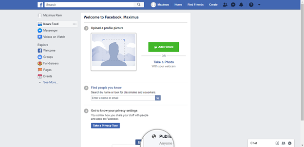Facebook Personal Account Home Page