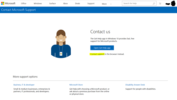 Hotmail, Outlook Contact Us Form
