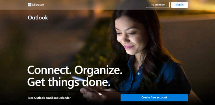 Outlook, Hotmail Home Page